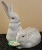 Pair of Herend Hungary Natural Rabbits Eating Corn Figurine