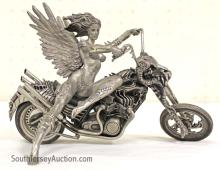 Franklin Mint Pewter Motorcycle Model with Girl