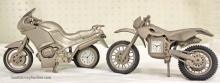 Lot of (2) Pewter Quartz Clock Motorcycles