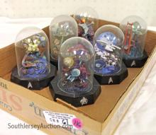 Lot of (6) Franklin Mint Limited Edition Star Trek Models Under Glass Domes