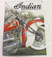 Indian America's Pioneer Motorcycle Road Master Metal Advertisement Sign