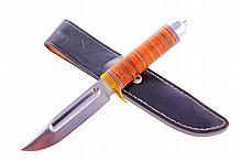 Custom leather washer hunting knife