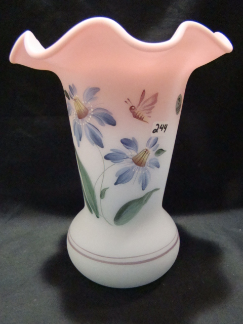 "9 1/2"" 2001 Blue Burmese Honor Collection hand painted vase 906/2500"