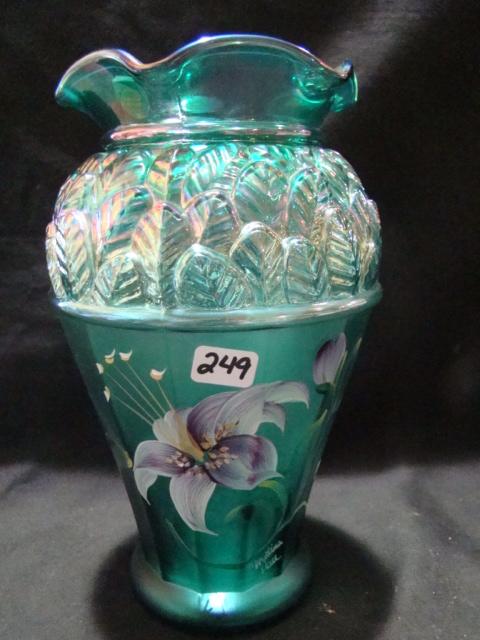 "8"" Hand painted green Designer Showcase vase signed Christina Hall"