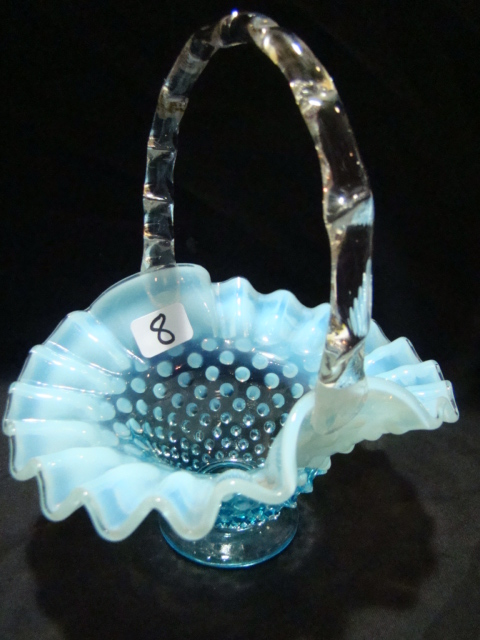 "5"" Blue opalescent hobnail basket"