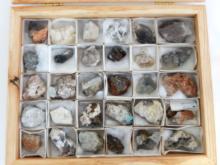 30 Mineral Samples in Locking Wood Box