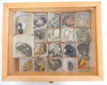 19 Mineral Samples in Locking Wood Box