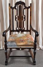 High Back William and Mary Style Arm Chair