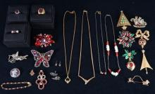 Red & Christmas Costume Estate Jewelry