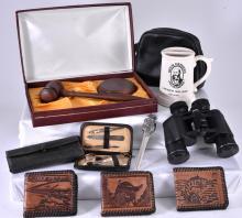 Lot w/Binoculars, Gavel, Wallets, Mug, Desk Items