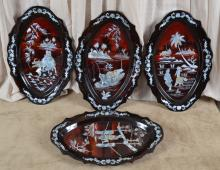 4 Korean Lacquer Trays with Mother of Pearl Inlay