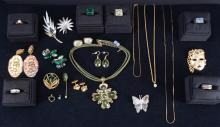 Green and Gold Tone Costume Estate Jewelry