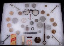 Assorted Coins, Knife, Glasses & More