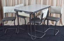 Vintage Black & White Enamel Table and 4 chairs