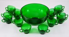 Forest Green Punch Bowl & 16 Cups
