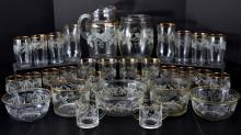 Large Set Grape & Leaf Decorated Glassware