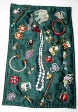 Vintage Costume Jewelry w/Elephant Pins