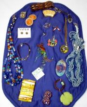 Vintage Blue & Shell Costume Jewelry
