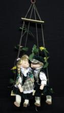 Cathay Creations Porcelain Kissing Dolls on Swing