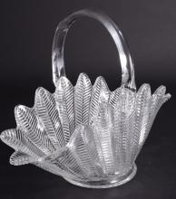 Pressed Glass Fern Leaf Basket