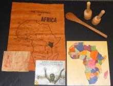 Vintage African Wooden Map & Swahili Alphabet Book