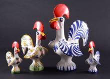 Four Vintage Portuguese Ceramic Roosters