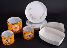 3 Floral Italian Jars. 7 Franciscan Plates Plus