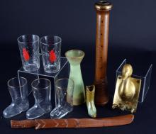 Frankoma Candlestick & Boot Plus Bar Glass & Wood