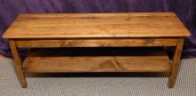 Wooden Bench w/Lower Shelf