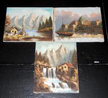3 Unframed Oil on Canvas Water Scenes