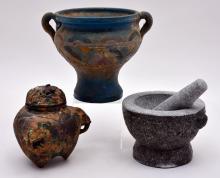 Mortar w/Pestle, Incense Burner & Pedestal Dish