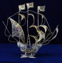 Metal Wire Sailing Ship