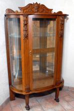 Antique Carved Bowed Oak Curio/Display