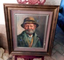 Framed Signed Bearded Gentleman Artwork