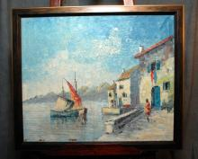 Unsigned Waterside Framed Oil on Canvas