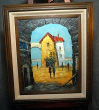 Signed Waterside Seen Through Arch Oil on Canvas
