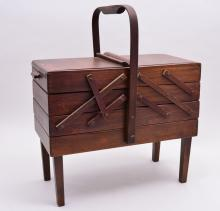 Wooden Sewing Notions Fold Out Cabinet