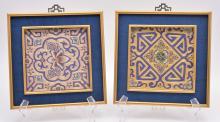 Pair Framed Japanese Gold Thread Art
