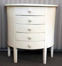 5-Drawer Painted Half Moon Cabinet
