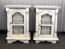 Pair Painted End Cabinets