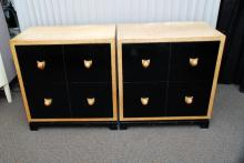 Pair 2-Drawer Art Deco Style Cabinets