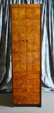 Burl Veneer Tall Storage Cabinet