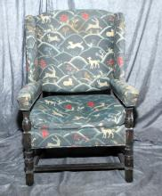 Large William & Mary Style Wing Chair