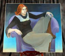 Large Signed Oil on Canvas of Seated Woman