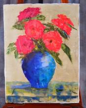 Signed Oil on Canvas of Red Flowers in Vase