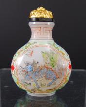 White Milk Glass Carved Snuff Bottle