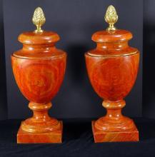 Pair Composite Faux Wood Pedestal Urns