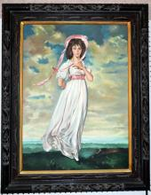 Pink Lady Oil on Canvas in Ornate Carved Frame
