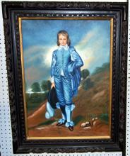Blue Boy Oil on Canvas in Ornate Carved Frame