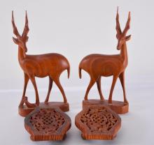 Pair Wood Hand Carved Elands On Stands